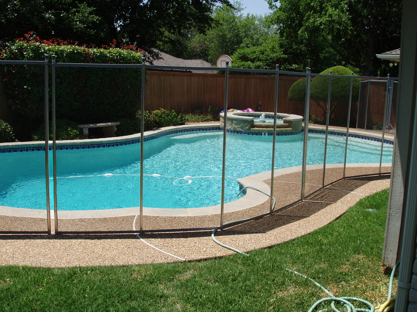 clean pool fence